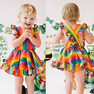 US Kids Baby Girl Rainbow Dress Sleeveless Princess Party Dress Summer Clothes](Baby Girl Rainbow Dress)