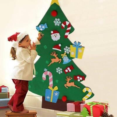 Albero di Natale per Bambini in Feltro da Parete con 26 Addobbi Natalizi 110cm