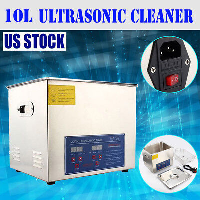 Stainless Steel 10l Liter Industry Heated Ultrasonic Cleaner Heater Timer
