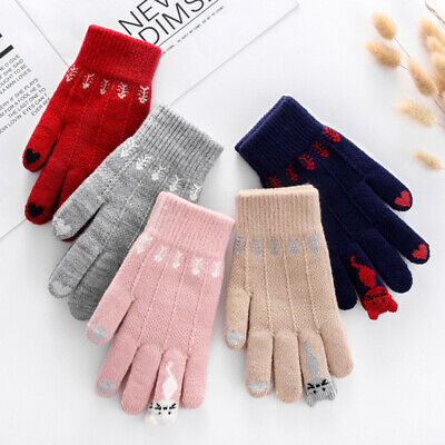 Women Cute Cats Gloves Knitted Touch Screen Gloves Winter Full Finger Mittens Clothing, Shoes & Accessories