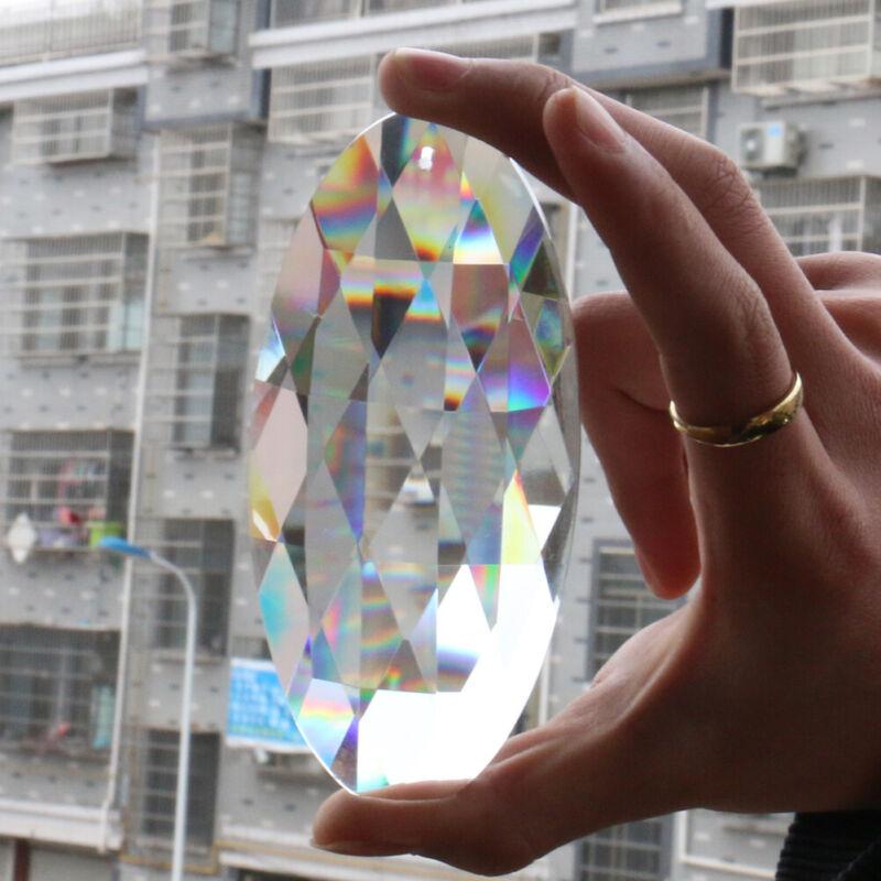 Fengshui Suncatcher 120MM Oval Crystal Decor Pendant Hanging Faceted Prism Lamp