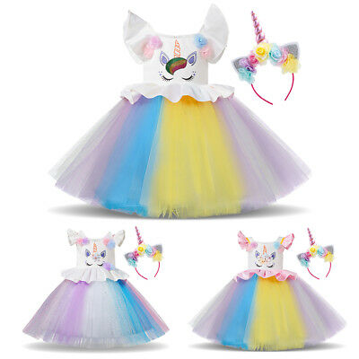 Unicorn Costume Rainbow Dress Up For Girls Halloween Cosplay Party Fancy - Halloween Outfits For Girls
