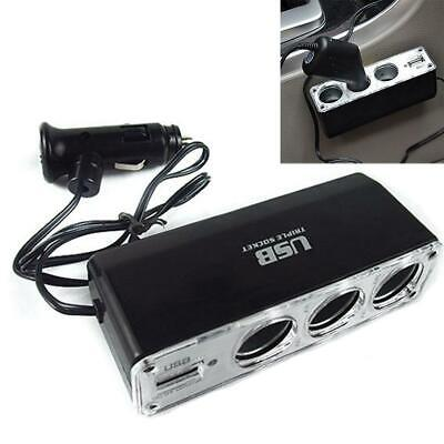 Car Cigarette Lighter Multi Socket Triple Splitter+ USB Charger Adapter 12V