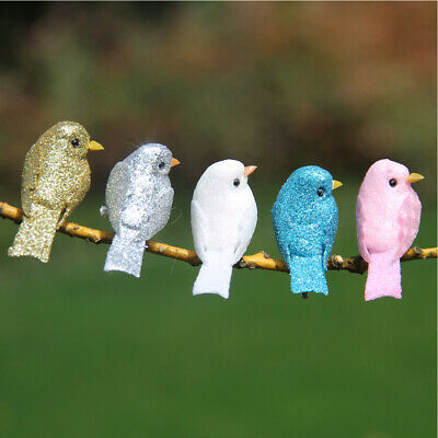 UK 12pcs Clip Vintage Artificial Bird Foam Feather Christmas Tree Colorful Decor