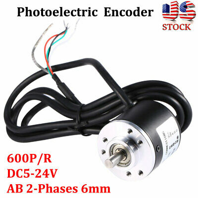 Ab 2 Phase Photoelectric Incremental Rotary Encoder 600pr Dc 5-24v Shaft 6mm