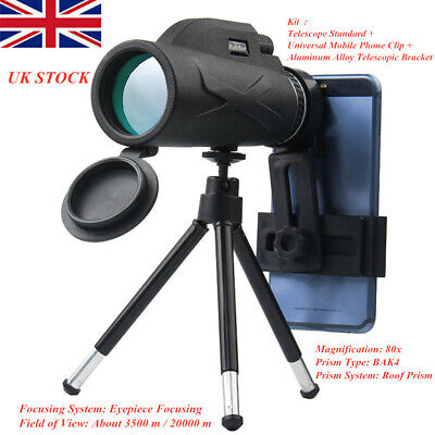 UK 80x100 Hunting Camping Optical Lens Monocular Telescope Zoom HD Night Vision