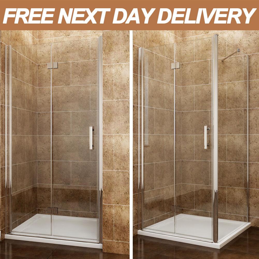 Frameless Folding Door : Frameless bifold shower door enclosure side panel and tray