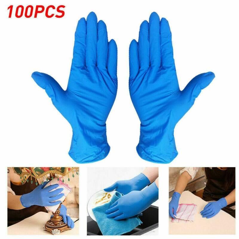 100/200x Nitrile Gloves Mechanic Non Latex Vinyl Medical Pow