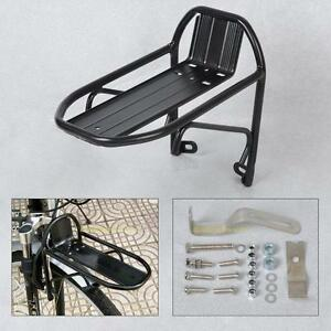 Black Aluminum Alloy Bike Bicycle Front Rack Luggage Shelf Panniers Bracket New