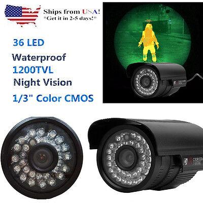 1200TVL HD Color Outdoor CCTV Surveillance Security Cam 36IR Day Night Video HP!