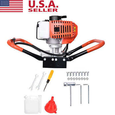52cc 2.2hp Gas Powered Post Hole Digger Machine Earth Burrow Auger Power Head Us