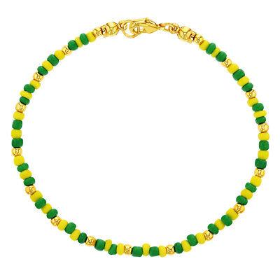 14k Gold Plated Green Yellow Beaded Santeria Babalawo Unisex Orula Bracelet 8.5
