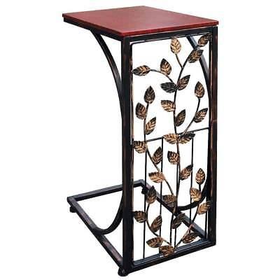 Etna Elegant Metal Sofa Side Table – Leaf Design ()