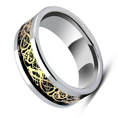 Tungsten Carbide Black & Gold Celtic Dragon Knot Inlay Wedding Band Ring 8 mm Black Gold Celtic Bands