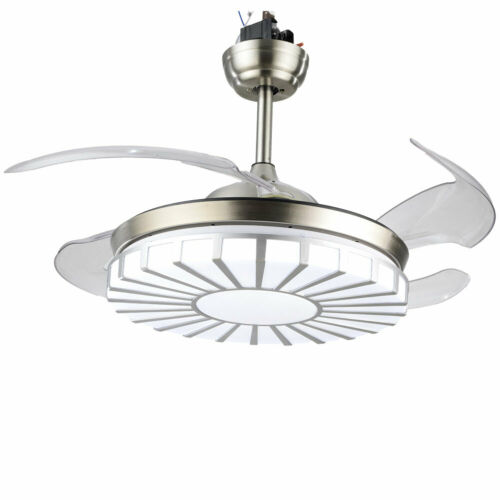 Invisible Crystal Fan Light Lamp Ceiling Light 4 Blades 3 Speed +Remote Control 5