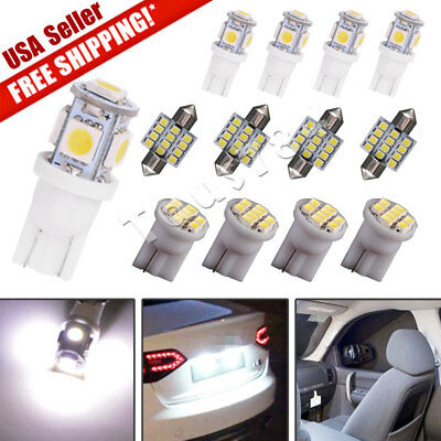 13x Pure White LED Lights Interior Package Kit for Dome License Plate Lamp -