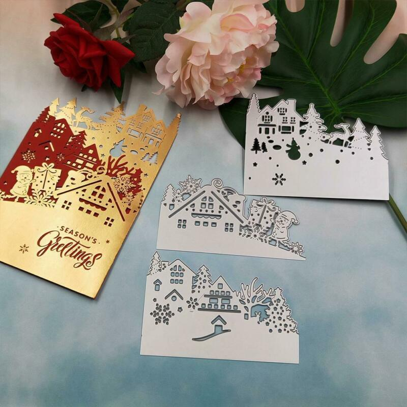 Metal Cutting Dies Mold Castle Ferris Wheel Xmas Tree Scrapbook Paper DIY Crafts