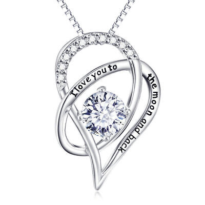 I Love You To The Moon and Back Heart Necklace Made with Swarovski Crystals 18