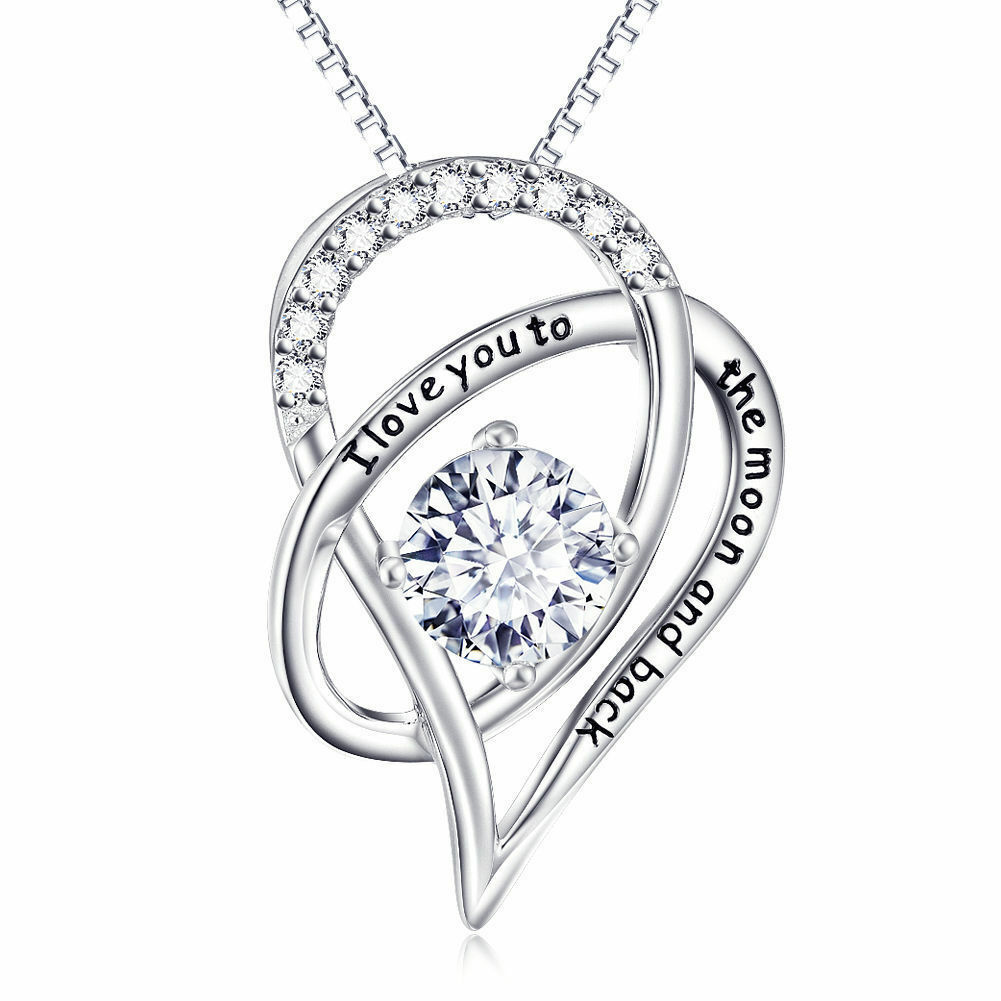 """I Love You To The Moon and Back Heart Necklace Made with Swarovski Crystals 18"""""""