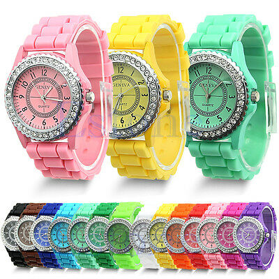 Heiß Günstig Geneva Silikon-Armband Quarz Gelee Armbanduhren für Damen