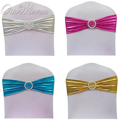 - 100×Chair Sash Band Spandex Stretch Lycra Chair Cover Sash Bow with Diamond Ring