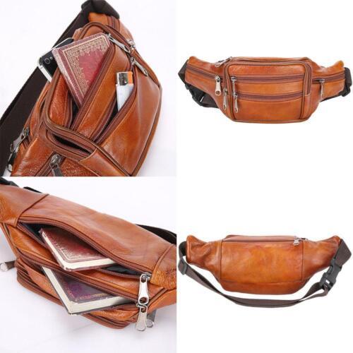 Leather Men/Women Waist Fanny Away Travel Pouch Multiple Pocket Genuine Orange