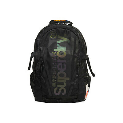 Superdry NEW Men's Camo Reflective Tap Backpack - Black BNWT