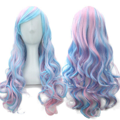 Fashion Blue and Pink Gradient Long Curly Hair Anime Wig Cosplay Wig Party Wig - Blue And Pink Hair
