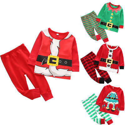 2PCS Toddler Kids Baby Boy Christmas Santa Claus Elf Costume Tops Pants Outfits - Elf Toddler Outfit