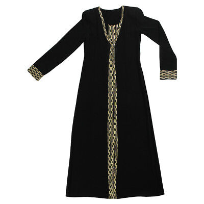 Women's Black Abaya Dress with Attached Covering and Gold Embroidered Patterns