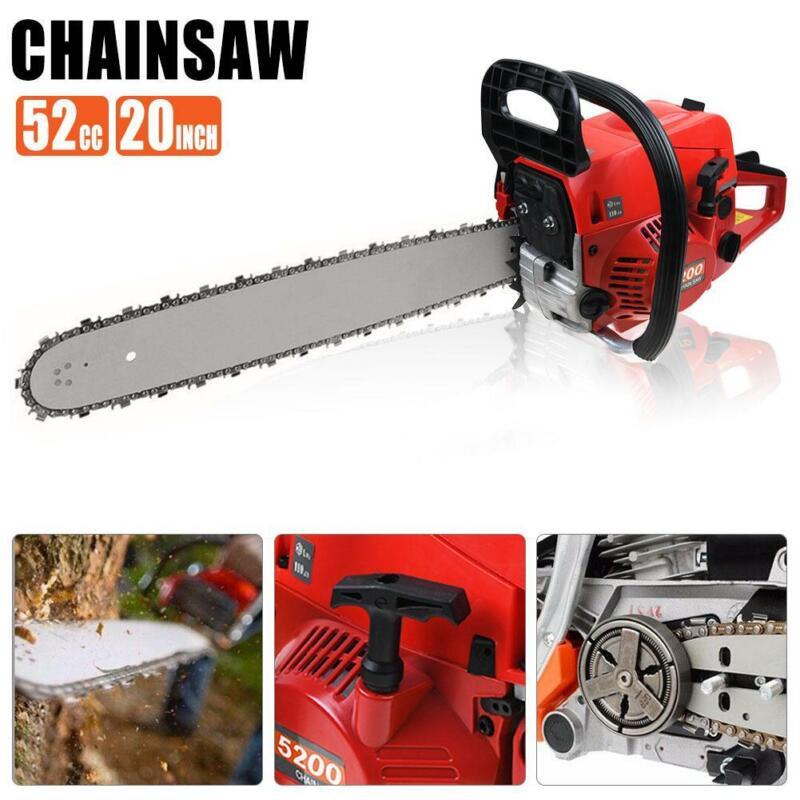 "20"" Bar Gas Powered Chainsaw 52cc Chain Saw Wood Tree Cutting Aluminum Crankcase"