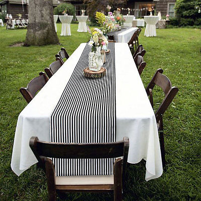 Black and White Striped Cotton Table Runner Cloth Cover Wedding Party Home - Black And White Wedding Decorations