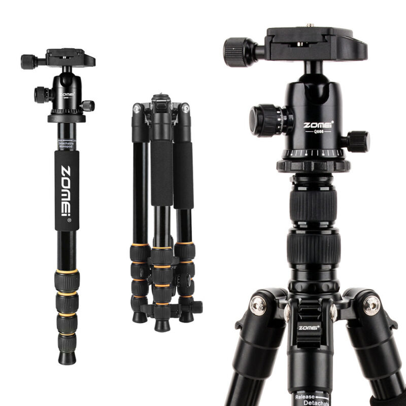ZOMEI Q666 Portable Aluminum Tripod Monopod Travel Ball Head For SLR DSLR Camera
