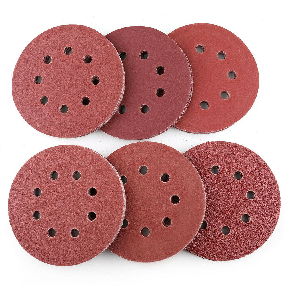 120PCS 5inch 8 Holes Hook and Loop Sanding Discs P40 60 100