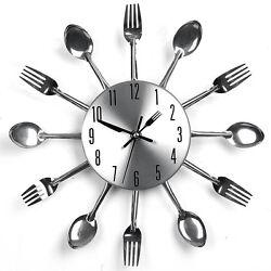 Sliver Modern Design Cutlery Kitchen Utensil Wall Clock Spoon Fork Clock