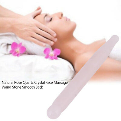 Natural Rose Quartz Crystal Face Acupoint Massage Wand Stone Stick Used for Spa ()