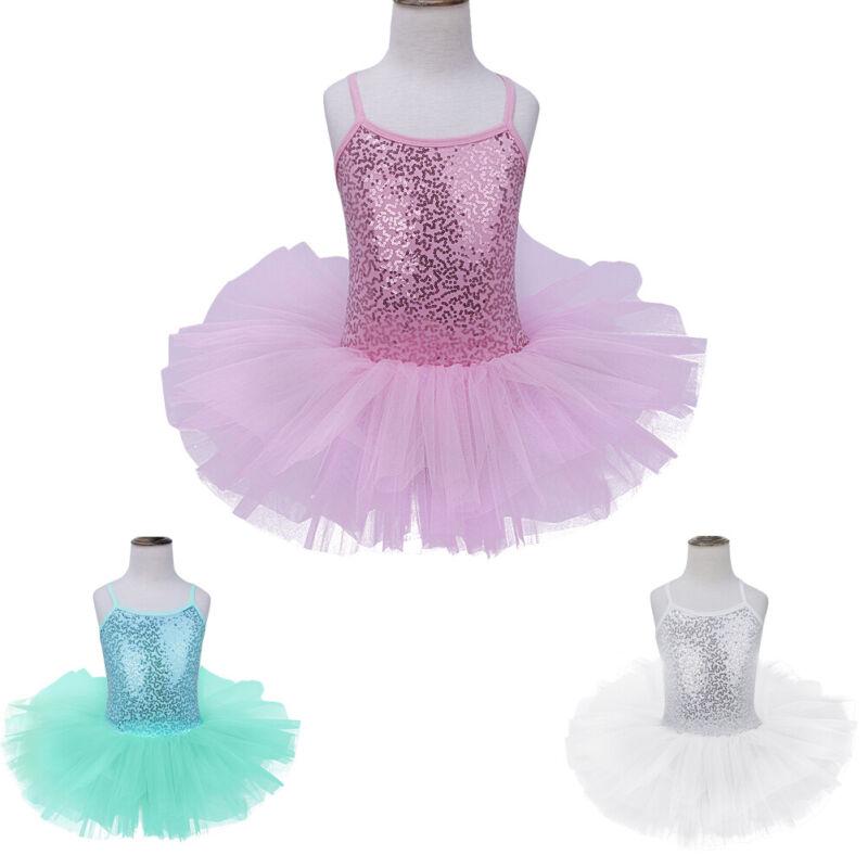 Girls Sequins Ballet Dance Gymnastics Leotard Mesh Tutu Dress Modern Dancewear