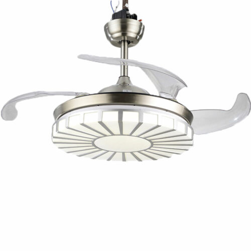 Invisible Crystal Fan Light Lamp Ceiling Light 4 Blades 3 Speed +Remote Control 3