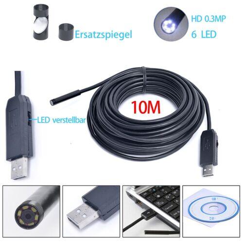 10M Wasserdicht Inspektionskamera USB Endoskop Rohrkamera LED Kanalkamera für PC