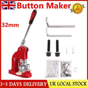 UK 32MM Badge Maker Machine Making Pin Button Press Cutter w/1000 Circle Button