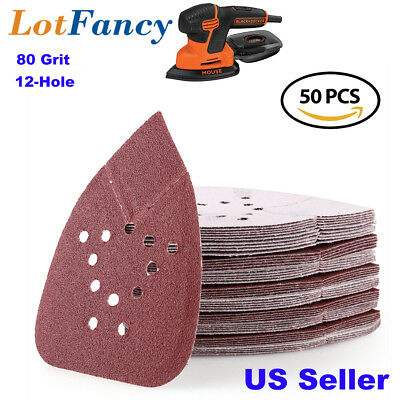 80 Grit Sanding Pad For Black and Decker Sheets Sandpaper Mouse Sanders Palm