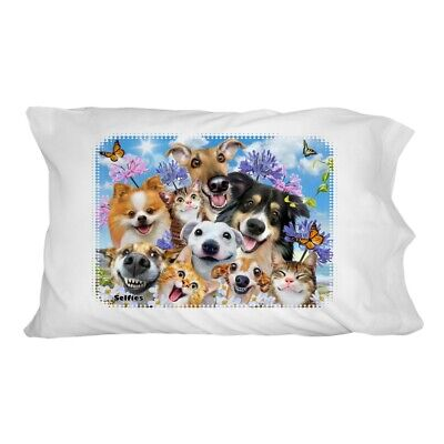 Dogs Cats Fun in the Sun Selfie Novelty Bedding Pillowcase