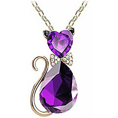 Women Crystal Rhinestone Cat Chain Pendant Necklace Charm Jewelry  purple Charming Purple Crystal