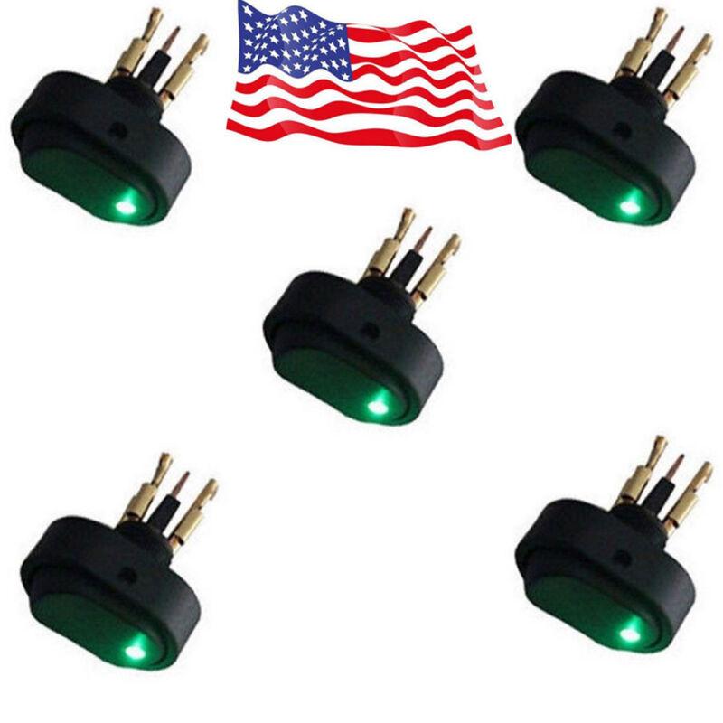 5 Pcs Green LED Light 12V 30A Car Boat Auto Rocker SPST Toggle ON/OFF Switch