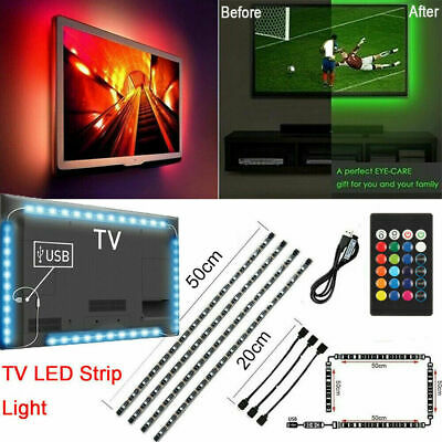 TV LED Backlight 4 x 50CM USB 5050 RGB LED Strip Light Remote Kit 5V 30Leds/M US