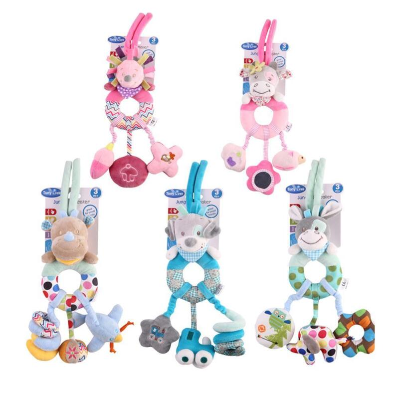 Baby Plush Toy Bed Stroller Hanging Ring Bell Toys Soft Ratt