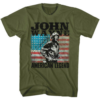 American Hero T-shirt (John Wayne American Legend Soldier Men's T Shirt USA Flag Military Army Hero Top)