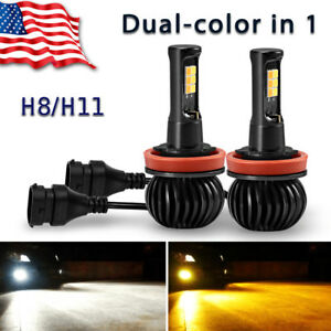 2xYITAMOTOR 160W H8 H11 LED Fog Light Bulbs White+Amber Yellow Dual Color 1300LM