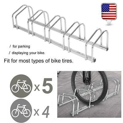 Parking Rack (4/5 Bike Bicycle Stand Parking Garage Storage Organizer Cycling Rack Silver US )