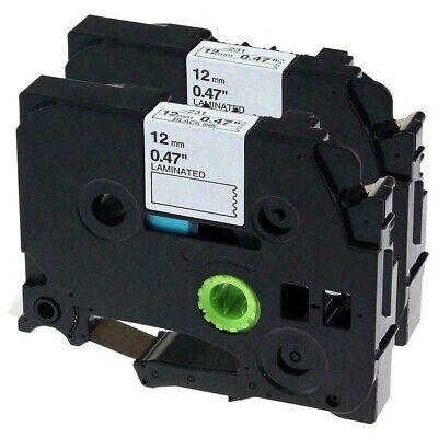 2-pkpack Tze231 Tz231 Blackwhite Label Tape For Brother P-touch Pt-d210 12mm